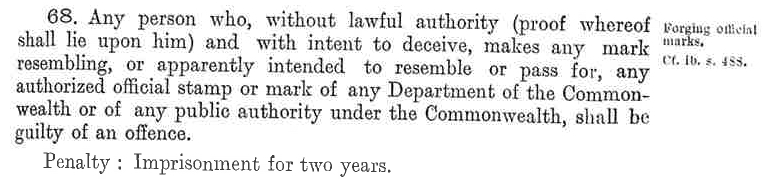 Crimes Act 1914 - Official Marks