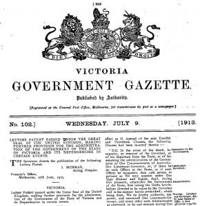 Letters Patent Victoria 1913