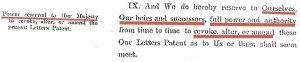 Letters Patent 1900 Revocation