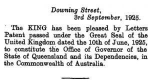 London Gazette Queensland Governor's Office 1925