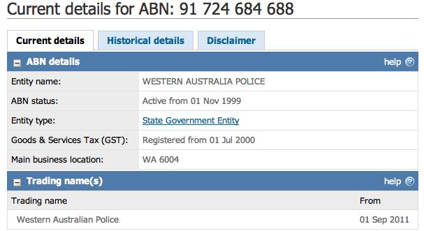 Western Australia Police ABN